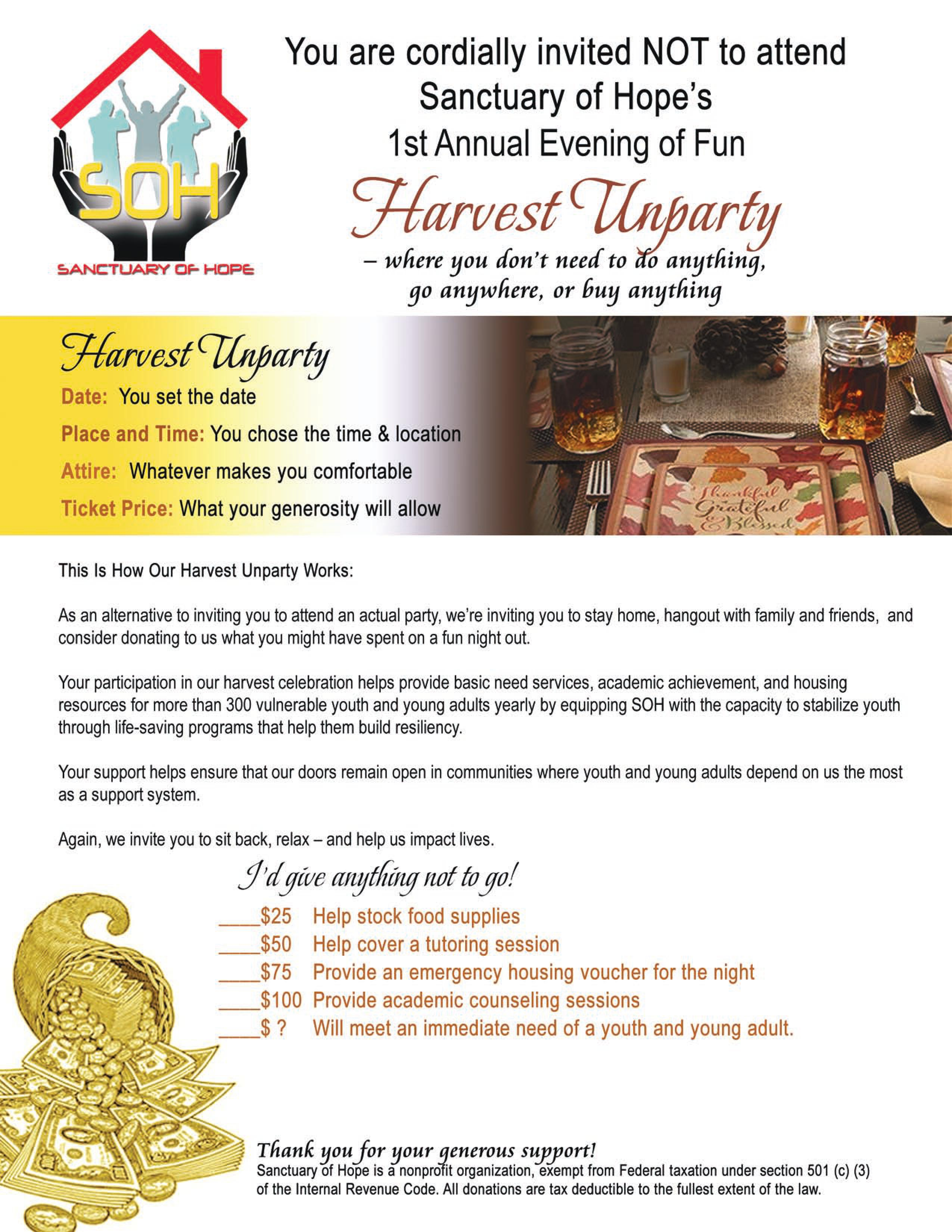 An Evening of Fun at the Harvest Unparty - Sanctuary of Hope